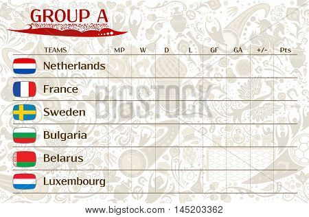 Football world championship 2018 European qualifiers matches group A table of results vector template