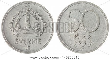 50 Ore 1944 Coin Isolated On White Background, Sweden