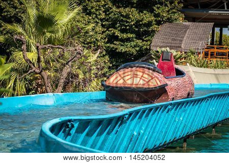 log flume on waret in amusement park