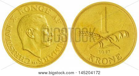 1 Krone 1947 Coin Isolated On White Background, Denmark