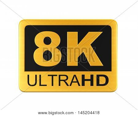 Ultra HD 8K Icon isolated on white background. 3D render