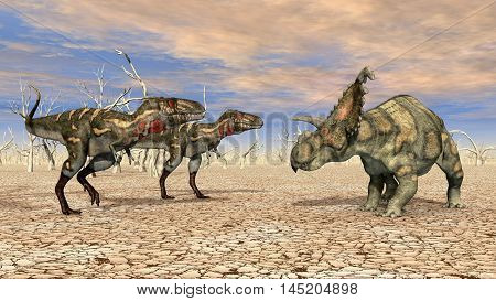 Computer generated 3D illustration with the dinosaurs Nanotyrannus and Albertaceratops