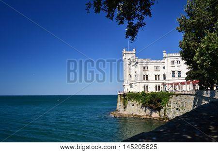 View of Miramar Castle, near Trieste, Italy