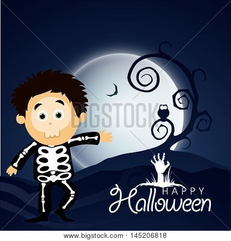 Scary boy, zombie hand and dead tree on full moon light night for Happy Halloween Festival.