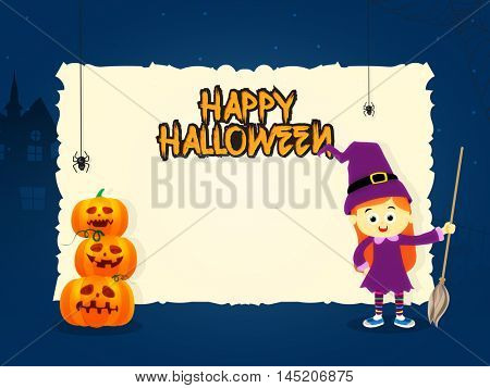 Happy Halloween Greeting or Invitation Card design with space for your wishes, Glossy scary pumpkins (Jack-o-Lanterns) and cute girl holding broomstick.
