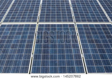 Renewable energy. Close view on the solar panel.