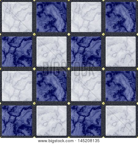 Abstract seamless marbled floor pattern of blue, white and gold squares with veined texture on a black background. Blue, white and gray background of marbled mosaic tiles