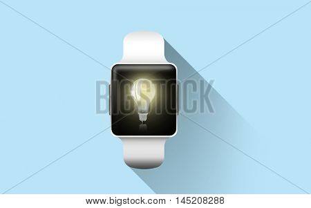 modern technology, idea, object and media concept - close up of black smart watch with light bulb icon on screen over blue background