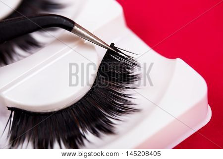 False lashes and pincers closeup on red background