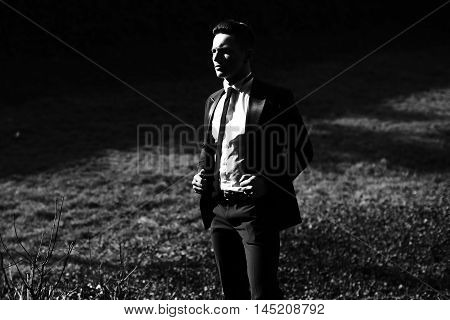 Young Man Poses On Landscape