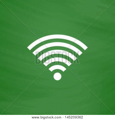 Wireless Network. Flat Icon. Imitation draw with white chalk on green chalkboard. Flat Pictogram and School board background. Vector illustration symbol