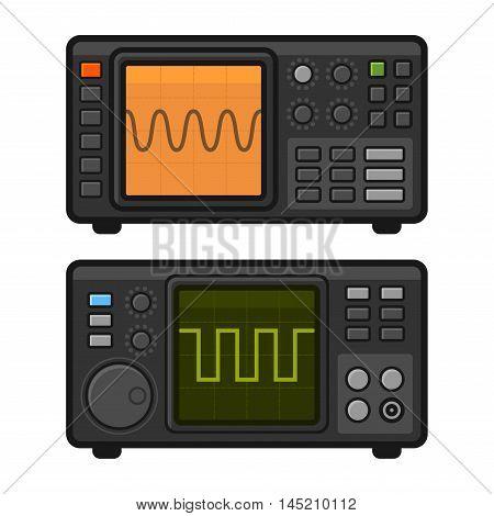 Digital Oscilloscope Set on White Background. Vector illustration