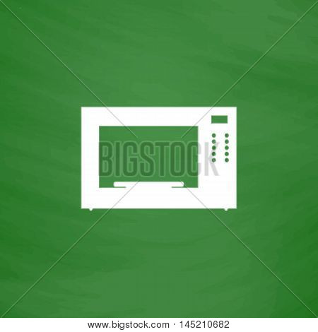 Microwave oven. Flat Icon. Imitation draw with white chalk on green chalkboard. Flat Pictogram and School board background. Vector illustration symbol