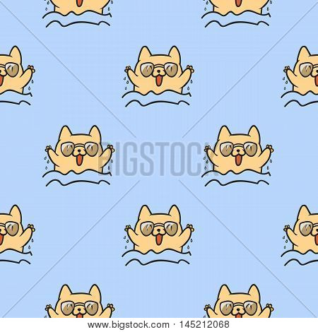 Cute doodle vector cats seamless pattern. Beautiful cat. Fun animals