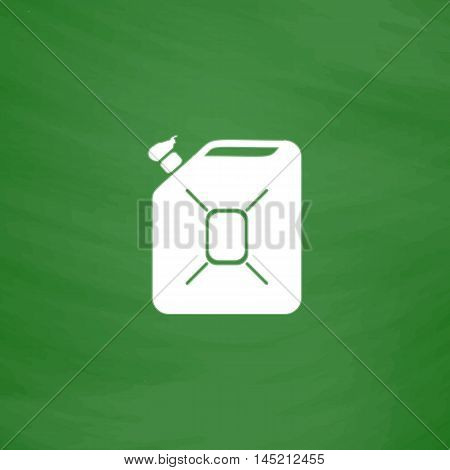 Jerrycan oil. Flat Icon. Imitation draw with white chalk on green chalkboard. Flat Pictogram and School board background. Vector illustration symbol