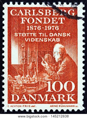 DENMARK - CIRCA 1976: A stamp printed in Denmark issued for the 100th Anniversary of the Carlsberg Foundation shows Professor Emil Hansen, circa 1976.