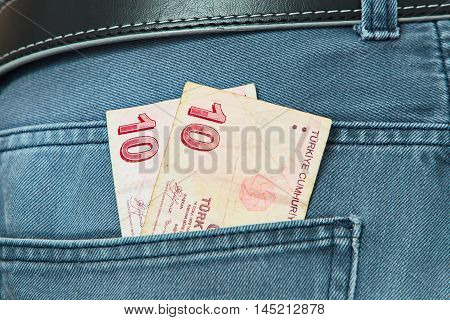 Turkish Lira in the pocket of a Jeans