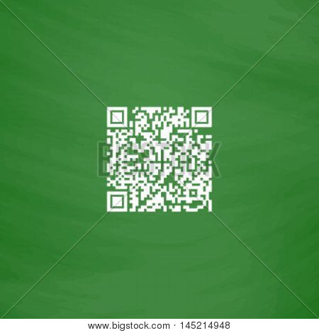 Qr code. Flat Icon. Imitation draw with white chalk on green chalkboard. Flat Pictogram and School board background. Vector illustration symbol