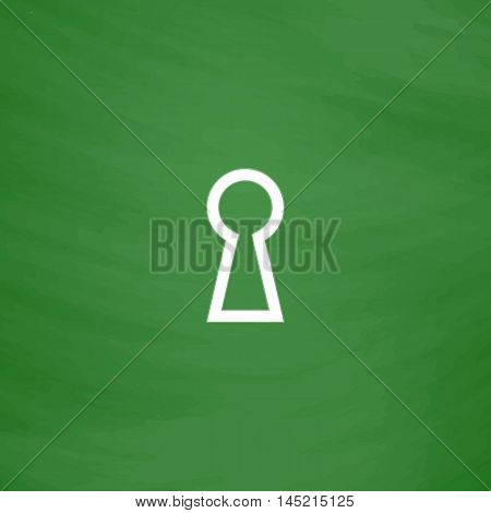 Keyhole. Flat Icon. Imitation draw with white chalk on green chalkboard. Flat Pictogram and School board background. Vector illustration symbol