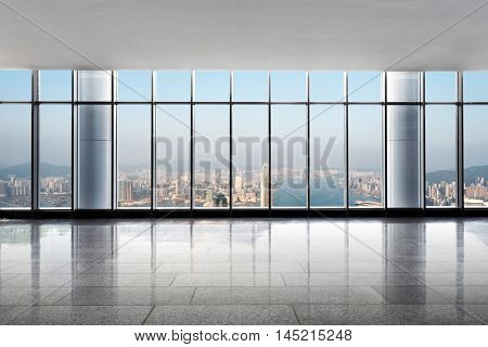 cityscape and skyline of hong kong from glass window