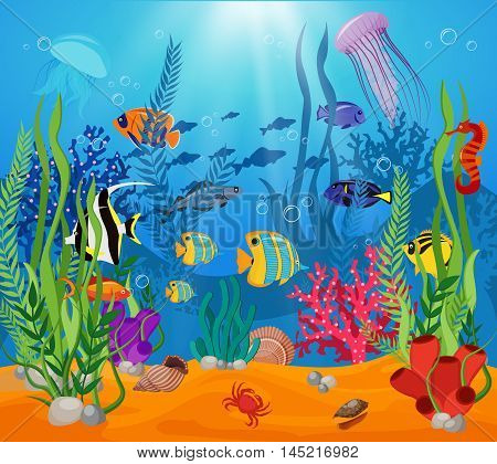 Sea life animals plants composition colored cartoon with marine life and various types of algae vector illustration