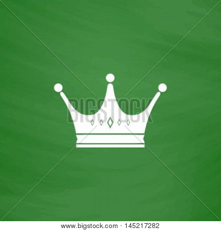Crown. Flat Icon. Imitation draw with white chalk on green chalkboard. Flat Pictogram and School board background. Vector illustration symbol