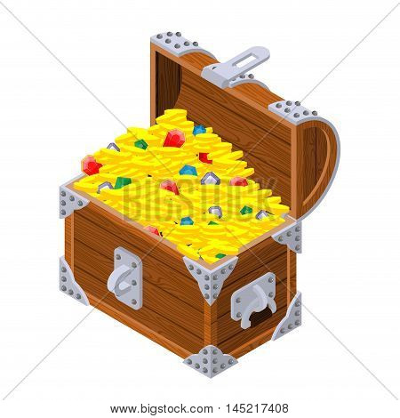 Open Treasure Chest Isometrics. Old Casket With Money. Gold And Precious Stones Ornament. Sapphires