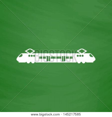Suburban electric train. Flat Icon. Imitation draw with white chalk on green chalkboard. Flat Pictogram and School board background. Vector illustration symbol