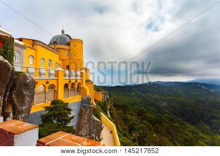 Beautiful view of the Pena National Palace in Sintra, Portugal