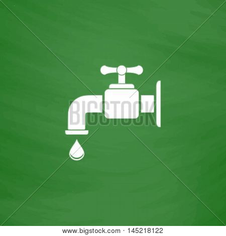 Faucet. Flat Icon. Imitation draw with white chalk on green chalkboard. Flat Pictogram and School board background. Vector illustration symbol