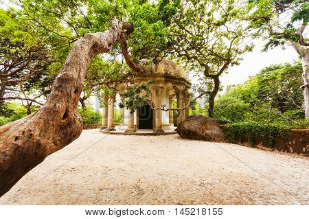 The circular structure in the Park Pena Palace in Sintra, Portugal.