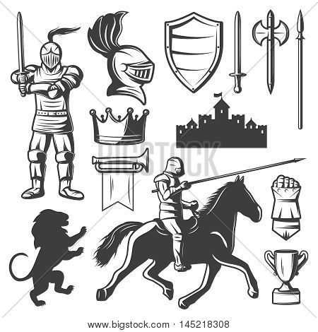 Knights monochrome elements set with medieval castle heraldic symbols armored warriors edged weapon isolated vector illustration