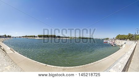 Panorama Of River Rhone In Arles, France