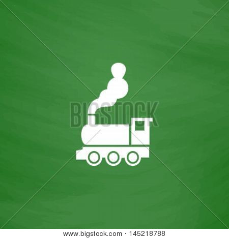 Train - classic locomotive. Flat Icon. Imitation draw with white chalk on green chalkboard. Flat Pictogram and School board background. Vector illustration symbol