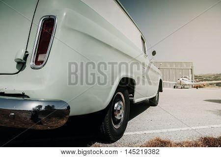 MALAGA, SPAIN - JULY 30, 2016: GMC Suburban 1959 classic wagon, parked in Malaga aerodrome, Spain.