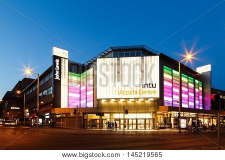 NOTTINGHAM ENGLAND - AUGUST 30: Frontage of the INTU Victoria Centre - shopping centre. In Nottingham England. On 30th August 2016.