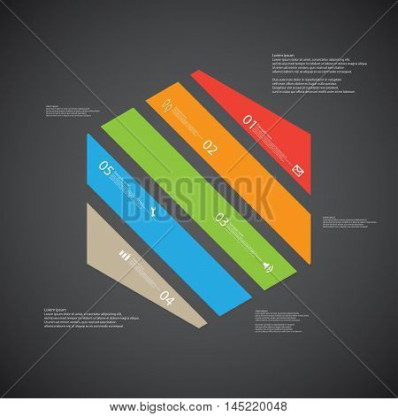 Hexagon Illustration Template Consists Of Five Color Parts On Dark Background