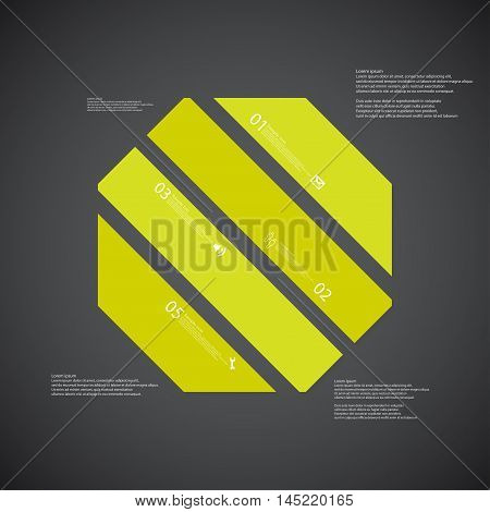 Octagon Illustration Template Consists Of Four Green Parts On Dark Background
