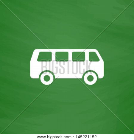 Minibus. Flat Icon. Imitation draw with white chalk on green chalkboard. Flat Pictogram and School board background. Vector illustration symbol