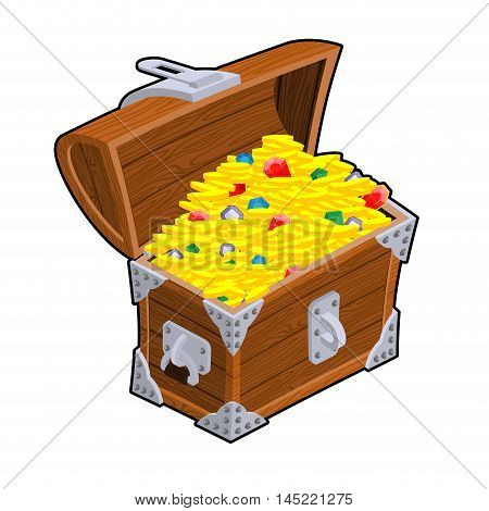 Open Treasure Chest. Old Casket With Money. Gold And Precious Stones Ornament. Sapphires And Diamond
