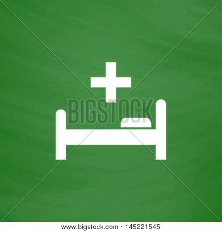 Hospital bed and cross. Flat Icon. Imitation draw with white chalk on green chalkboard. Flat Pictogram and School board background. Vector illustration symbol