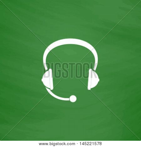 Support headset. Flat Icon. Imitation draw with white chalk on green chalkboard. Flat Pictogram and School board background. Vector illustration symbol