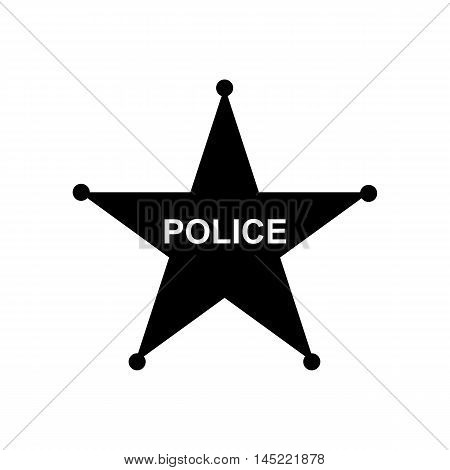 Police star icon in flat design. Silhouette vector illustration