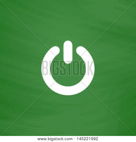 Power. Flat Icon. Imitation draw with white chalk on green chalkboard. Flat Pictogram and School board background. Vector illustration symbol