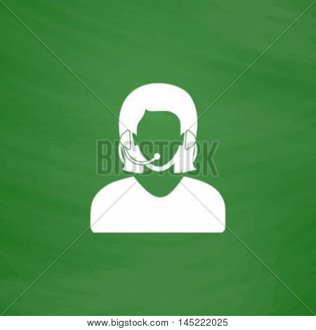 Women customer support. Flat Icon. Imitation draw with white chalk on green chalkboard. Flat Pictogram and School board background. Vector illustration symbol