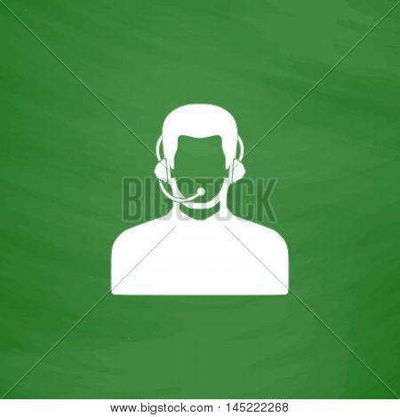 Call center operator with headset. Flat Icon. Imitation draw with white chalk on green chalkboard. Flat Pictogram and School board background. Vector illustration symbol
