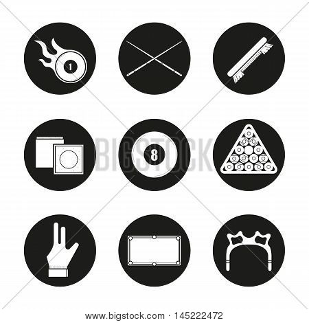 Billiard icons set. Pool game equipment. Burning ball, crossed cues, brush, chalk, eight ball, ball rack, glove, table and rest head. Vector white illustrations in black circles