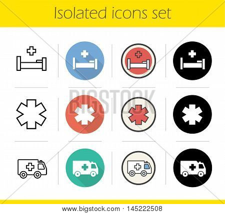 Ambulance icons set. Flat design, linear, black and color styles. Hospital bed, star of life and emergency car symbols. Medical isolated vector illustrations
