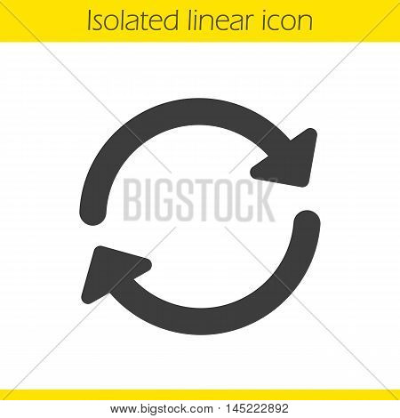 Refresh linear icon. Thick line illustration. Reload contour symbol. Vector isolated outline drawing
