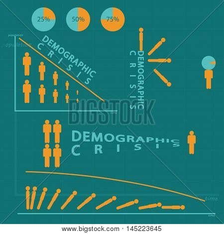 Demographic crisis infographic set of  the stick figure. Vector illustration